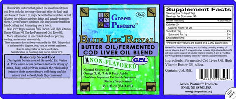 BLUE ICE Royal Butter Oil/Fermented Cod Liver Oil Blend - Non-Flavored - Non-Flavored (Gel)