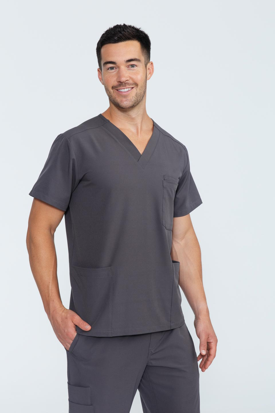Kalea - Mens Rhapsody Scrub Top - Gray