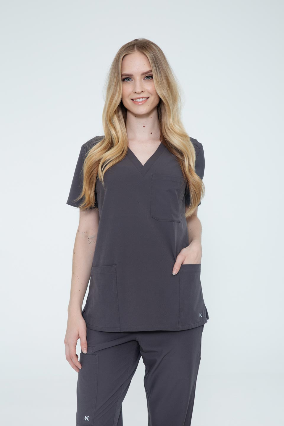 Kalea - Womens Reverie Scrub Top - Gray