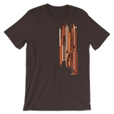 Orange Falling Lines Brown T-Shirt