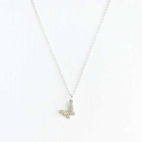 Dainty Butterfly Necklace, silver