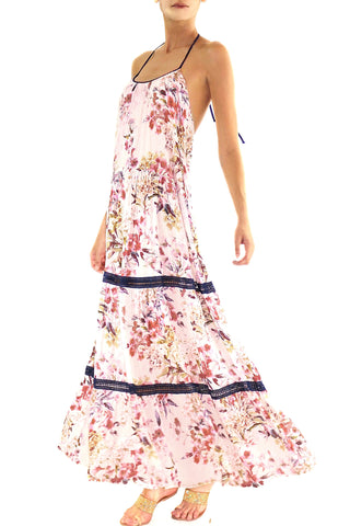 Johanne Beck Blush Floral Maxi Dress Boho Chic Style