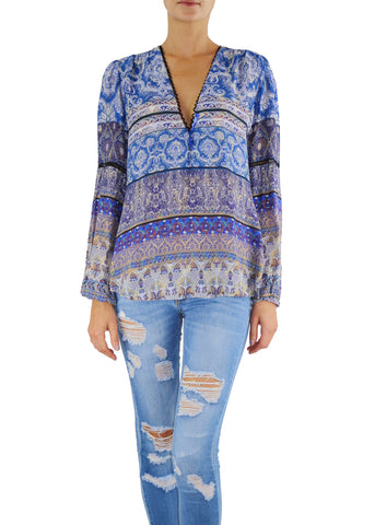 Johanne Beck Fashion Boho Chic Blue Silk Printed Top
