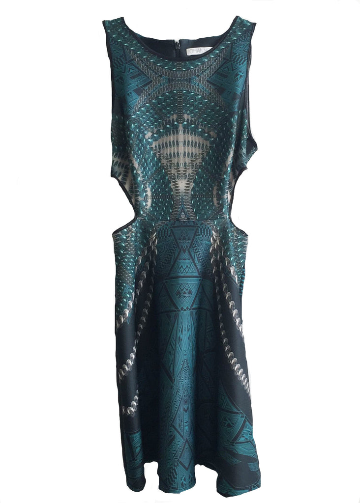 CLAUDETTE A LINE DRESS TEAL PEARL 1S