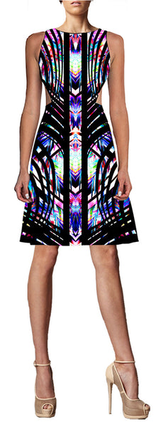 CLAUDETTE - SIDE CUT DRESS /  GEO TROPICS 1XS 1S