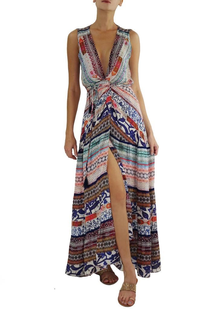 Johanne Beck Fashion Boho Chic Style Printed Silk Maxi Dress Bohemian Style Duster Wrap Dress Printed