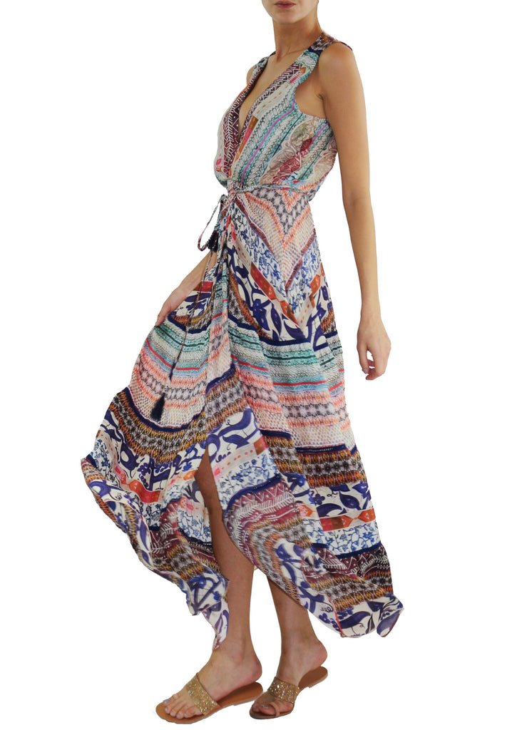 Johanne Beck Fashion Boho Chic Silk Printed Maxi Dress Holiday Gift Idea Printed Duster Bohemian Style Wrap Dress Printed Maxi Dress