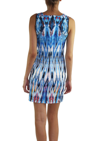Mini Dress Azure Printed Neoprene