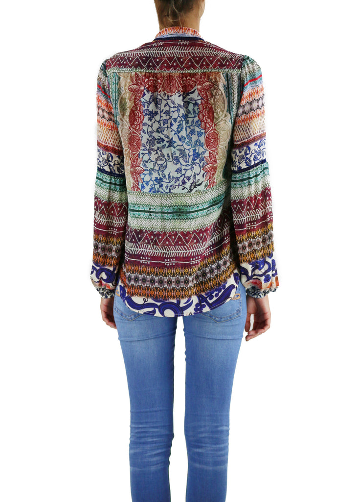 Johanne Beck Fashion Boho Chic Silk Top Printed Blouse