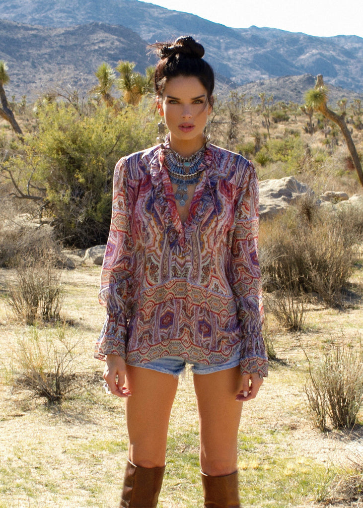 Johanne Beck Fashion Boho Chic Silk Top Printed Blouse Blush Paisley