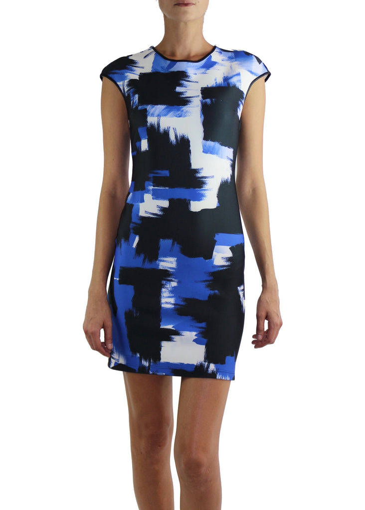 Johanne Beck Cap Sleeve Printed Neoprene Dress