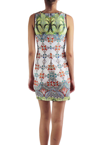 Johanne Beck Printed Fitted Mini Dress Neoprene