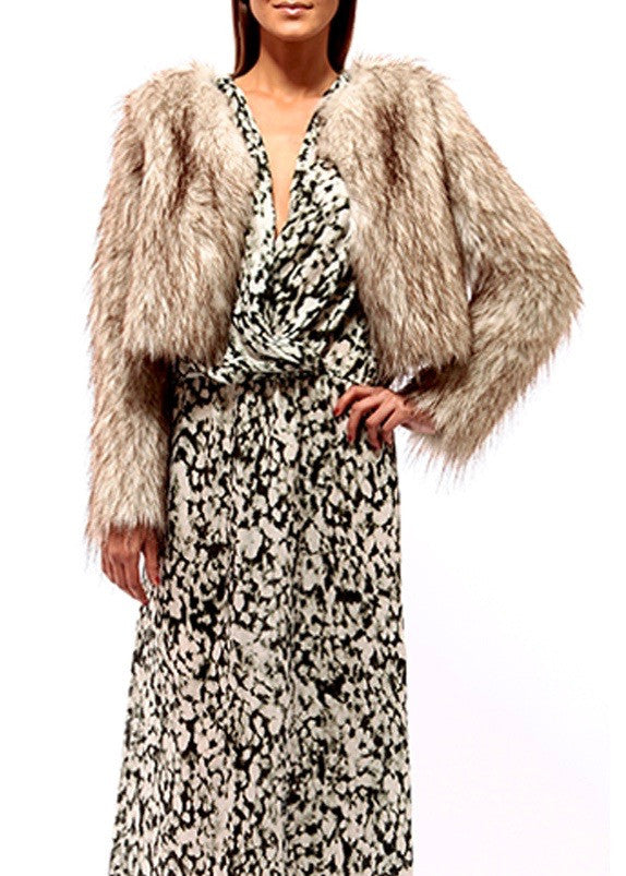 Johanne Beck Faux Fur Jacket With Lining Boho Chic Style