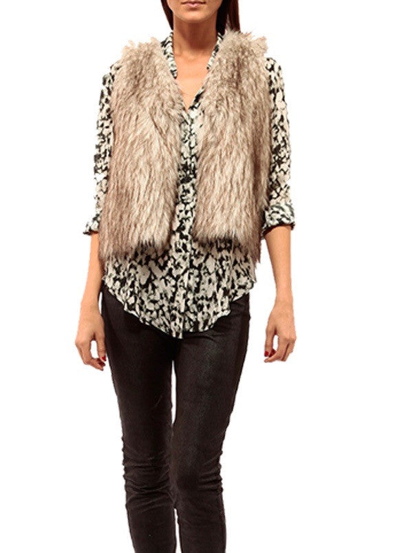 Johanne Beck Faux Fur Coat With Faux Leather Contrast Boho Chic Style