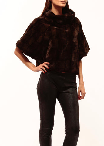 Johanne Beck Bohemian StyleDark Brown Faux Fur Top Boho Chic