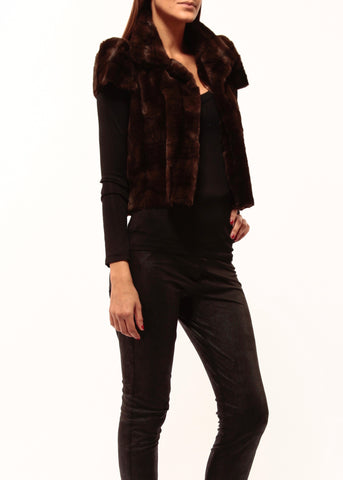Johanne Beck Faux Fur Jacket Dark Brown Boho Chic Style