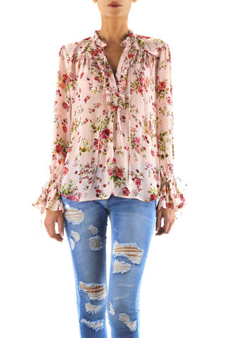 Johanne Beck Fashion Boho Chic Style Top Blush Floral Printed Silk Blouse  Spring17
