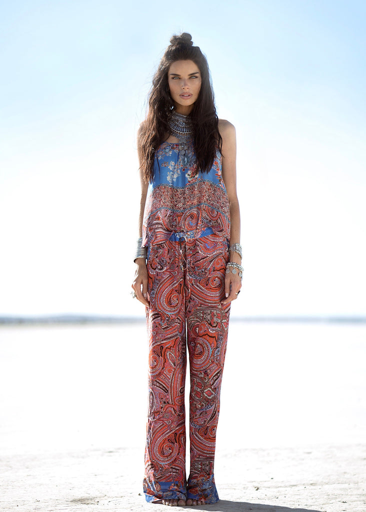 Johanne Beck Fashion Boho Chic Style Printed Flared Pants SS17 Preorder