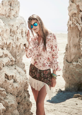 Johanne Beck Fashion Boho Chic Style Top Blush Floral Printed Silk Blouse SS17 Preorder