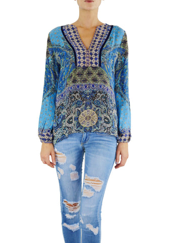 Johanne Beck Silk Printed Top Azure Tapestry Boho Chic