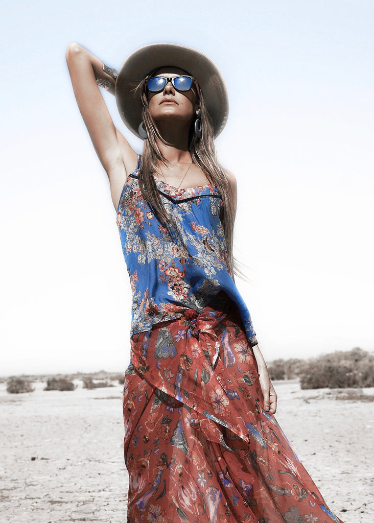Johanne Beck Boho Chic Style Blue Floral Silk Cami