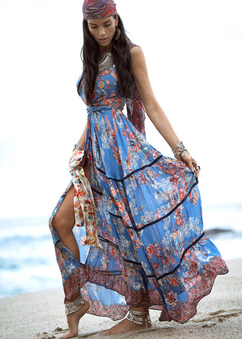 Johanne Beck Fashion Boho Chic Blue Floral Printed Silk Maxi Dress Bohemian Style