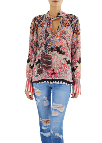 Johanne Beck Fashion Boho Chic Silk Top Printed Blouse Bohemian Style Top Holiday Gift Idea