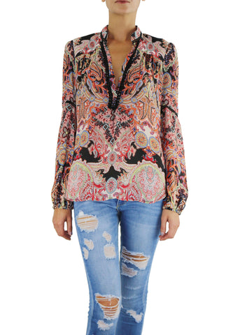 Johanne Beck Boho Chic Silk Top Red Paisley Print