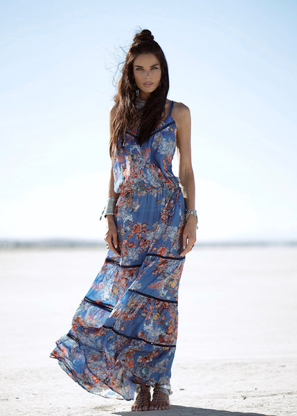Johanne Beck Fashion Boho Chic Style Printed Silk Maxi Dress SS17 Preorder