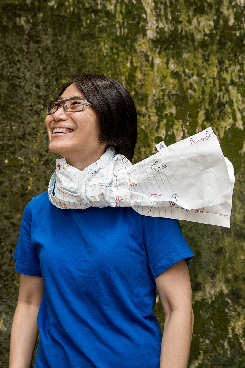 PAPER SCARF BLUE