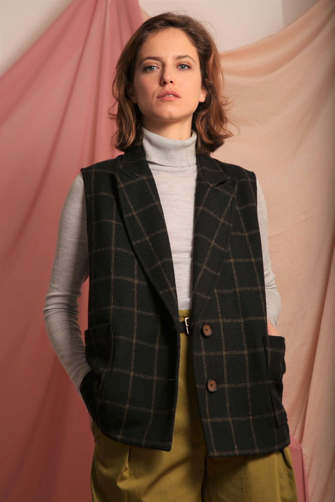 Sustainable & ethically made check wool jacket