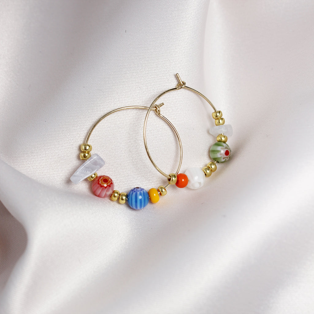 Libby Colourful Bead Gold Hoop Earrings