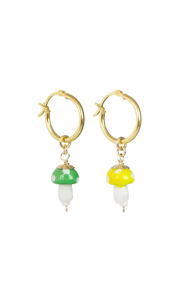 Magic Glass Mushroom Hoop Earrings