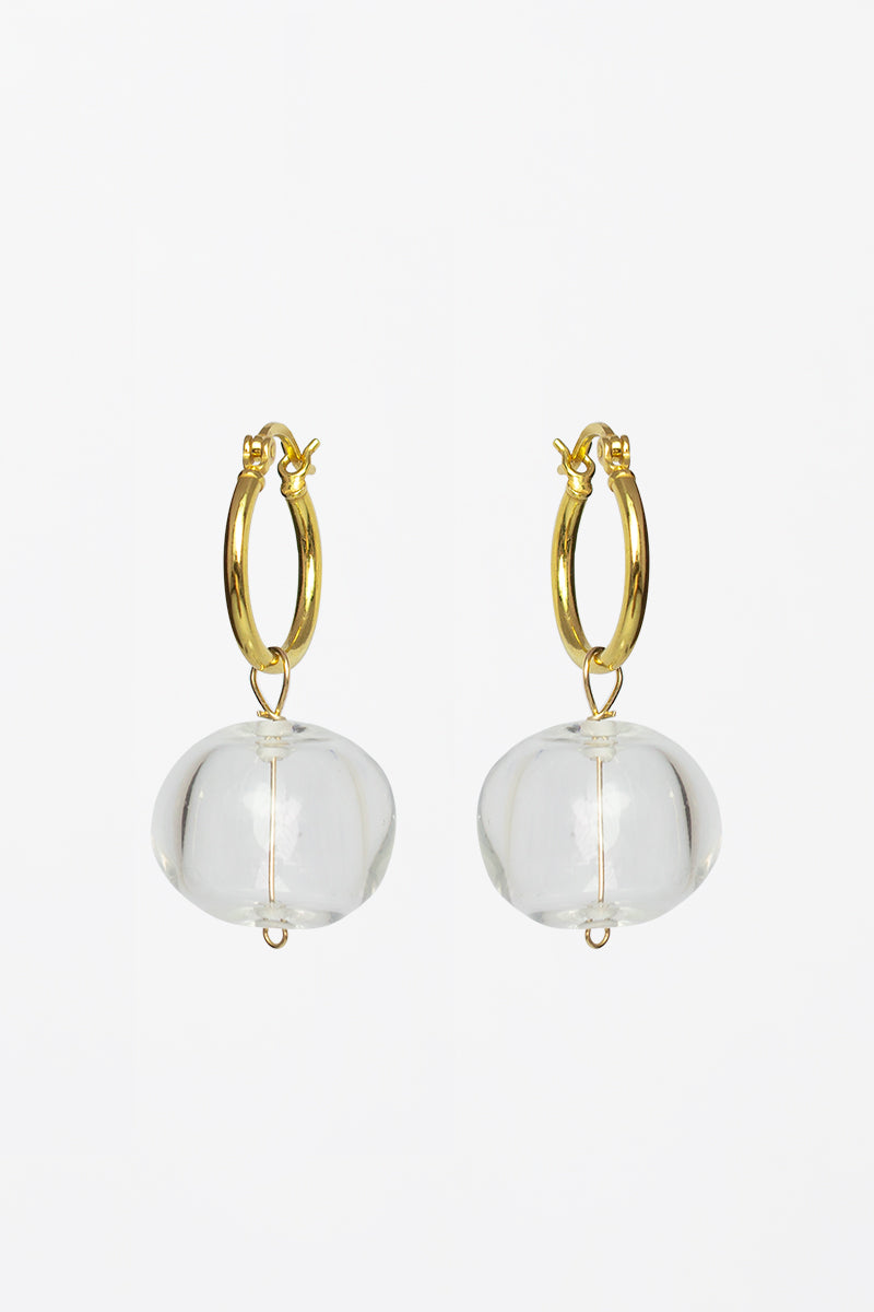 Mona Glass Bead Gold Hoop Earrings