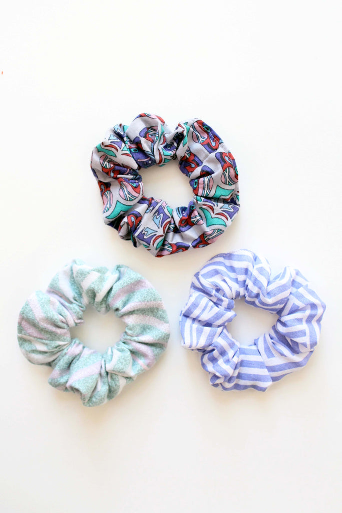 PURPLE AND GREEN SET OF SCRUNCHIES