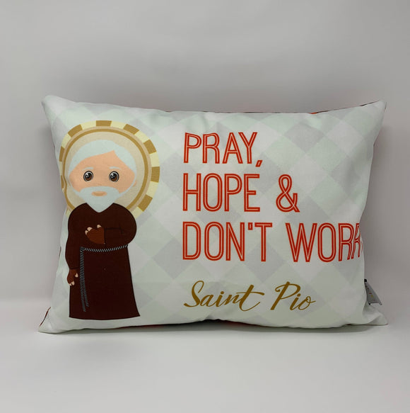 Saint Padre Pio pillow. Pray, Hope and Don't Worry. Baptism Gift. Children's & Nursery Decor. Catholic Gift. First Communion. St. Pio Gift