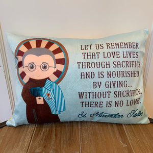 Saint Maximilian Kolbe pillow. Baptism Gift. Children's & Nursery Decor, Christian Catholic Gift. First Communion Gift. St. Maximilian Gift