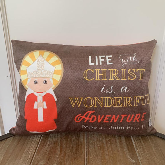 St. John Paul II pillow. Baptism Gift. JPII Decor. Christian Catholic Gift. First Communion Gift. Life with Christ is a wonderful adventure