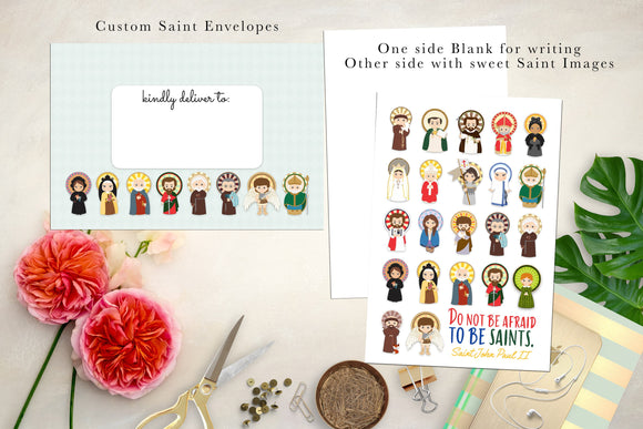 Children's Saint Note Cards and Saint Envelopes. 10 Flat Cards. Saint Notecard Set. Catholic gift. First communion. Mother Teresa. JPII.