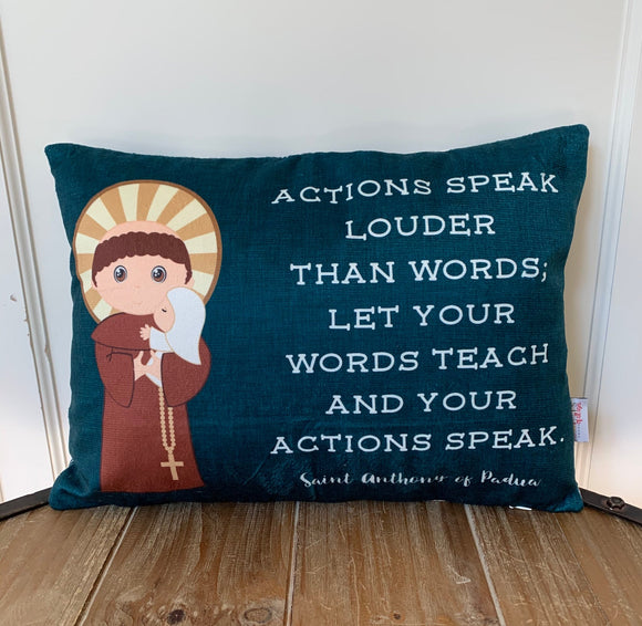 Saint Anthony of Padua pillow. Actions speak louder pillow. Baptism Gift. First Communion gift. Catholic. First Communion. St. Anthony Gift