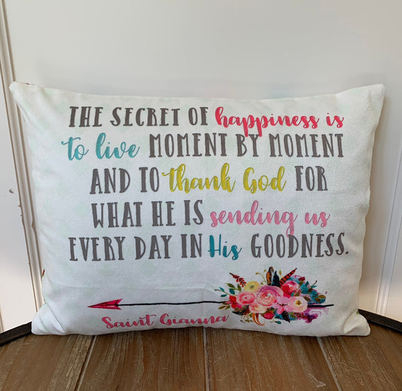 Saint Gianna pillow. The secret of happiness pillow. Saint pillow. Catholic Gift. Baptism Gift. First Communion Gift. St Gianna Gift.