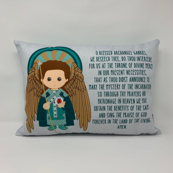 Saint Gabriel pillow. Baptism Gift. Children's & Nursery Decor, Christian Catholic Gift. First Communion Gift. St. Gabriel Gift.