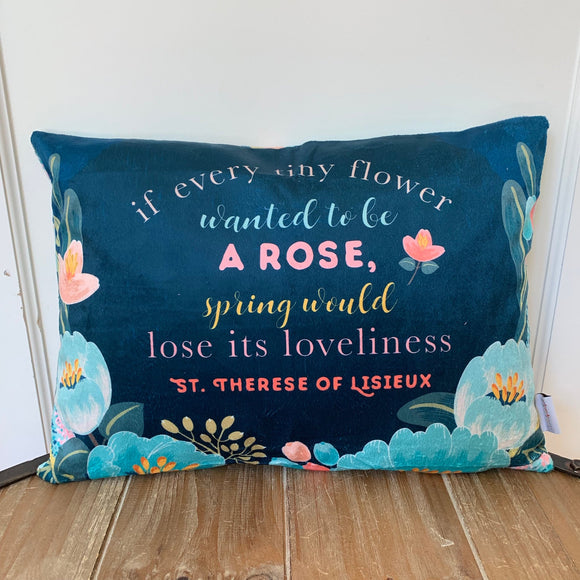 St. Therese of Lisieux pillow. If every tiny flower wanted to be a rose pillow. Christian Catholic Gift. Baptism Gift. Saint pillow.