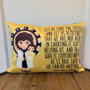 Saint Gianna pillow. Let us love the cross pillow. Saint pillow. Catholic Gift. Baptism Gift. First Communion Gift. St Gianna Gift.