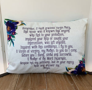 Memorare pillow. Remember, O most gracious Virgin Mary pillow. Christian Catholic Gift. First Communion Gift. Memorare pillow.
