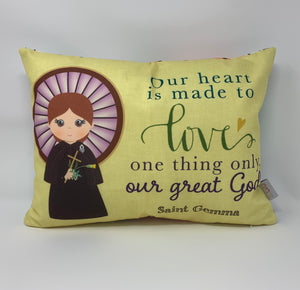 Saint Gemma prayer pillow. Our hearts are made to love pillow. Christian Catholic Gift. Baptism Gift. Saint Gemma gift. First Communion gift