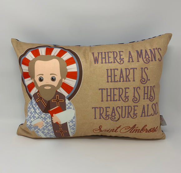 Saint Ambrose pillow. Where a man's heart is pillow. Baptism Gift. First Communion gift. Catholic. First Communion. St. Ambrose Gift