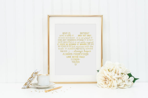 Love is Patient Wall Art. Printable 1 Corinthians 13 Art. Scripture heart wall art. Engagement gift. Love never fails decor. wedding gift.