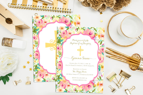 Floral Baptism Invitation. Custom Baptism Invites. Christening Invitation. Printable First Communion. Confirmation. Watercolor Baptism