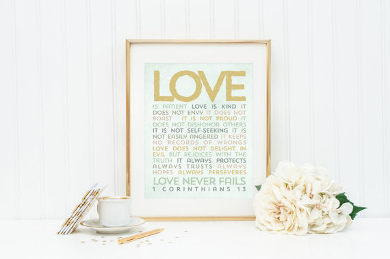 Love is Patient Love is Kind 8 x 10 Print. 1 Corinthians 13. Wedding Art.  Wall Decor. Wedding Wall Art. Gold Wedding Decor. Wedding gift.